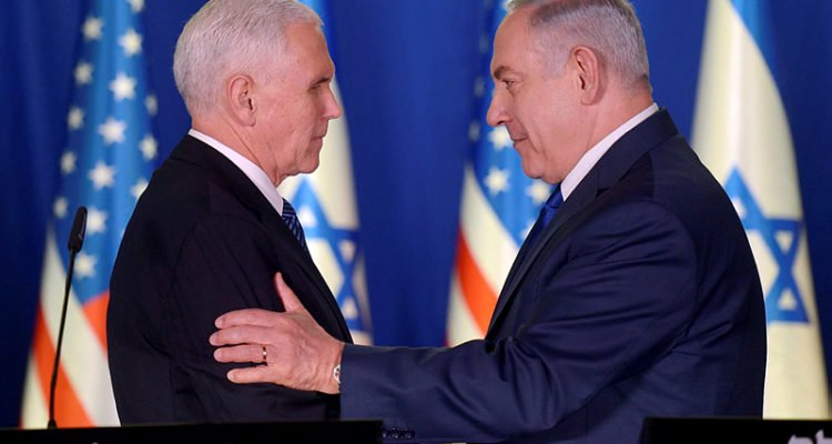 VP Mike Pence and PM Benjamin Netanyahu at a joint press conference in Jerusalem