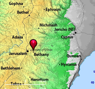 Map of Bethany and Jerusalem