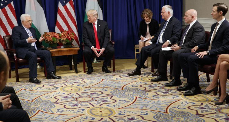 PA President Mahmoud Abbas, US President Donald Trump, White House senior adviser Jared Kushner