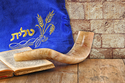 Tanakh (Old Testament), shofar, and tallit (prayer shawl)