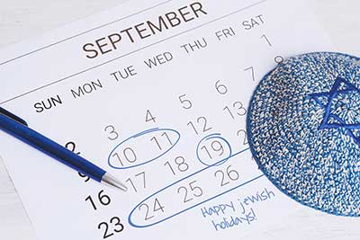 September, 2018 calendar with Jewish High Holy Days circled
