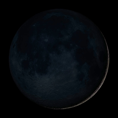 The new moon phase is the moon at its darkest in the night sky. The sky almost appears to have no moon at all