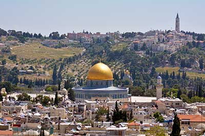 View of the Temple Mount with the Mount of Olives (Har Zetim) in the background