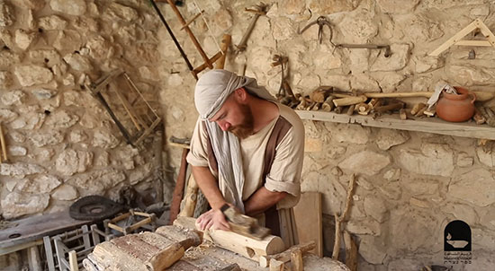 A Carpenter in the 1st century Historical Nazareth Village Israel