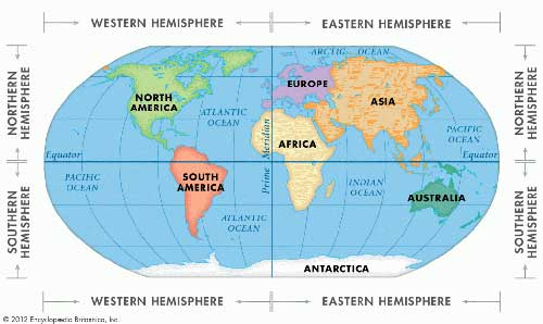 Map showing world hemispheres