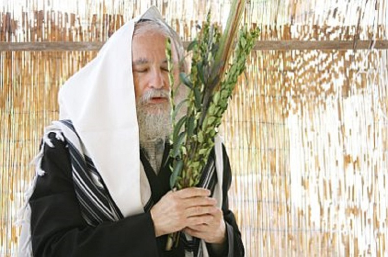A Jewish man faces east toward Jerusalem and prays while waving the lulav and the etrog in his sukkah