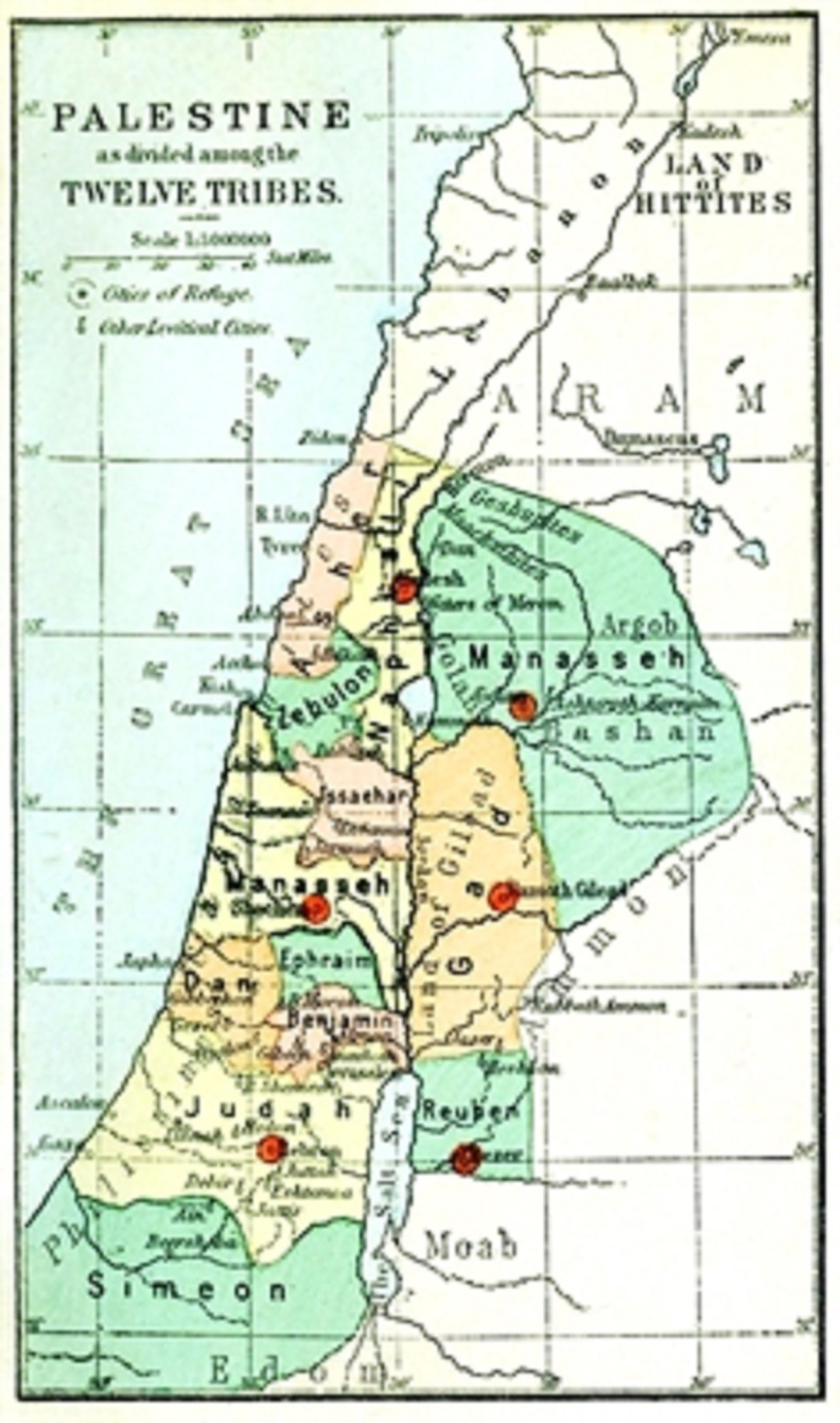 An 1889 map illustrating the division of Israel by tribes